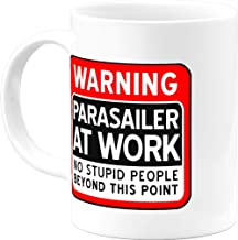Parasailing Gifts Funny Warning Parasailer At Work 11 Oz Coffee Mug Cool Gag Gifts for Women Men Him Her Best Graduation Christmas Birthday Office Cups