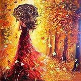 Peinture par numéro Kit, Diy Peinture à l'huile Dessin Fille romantique Marcher sous les arbres Toile avec des brosses Décorations de Noël Décorations Cadeaux - 16 * 20 pouces avec cadre