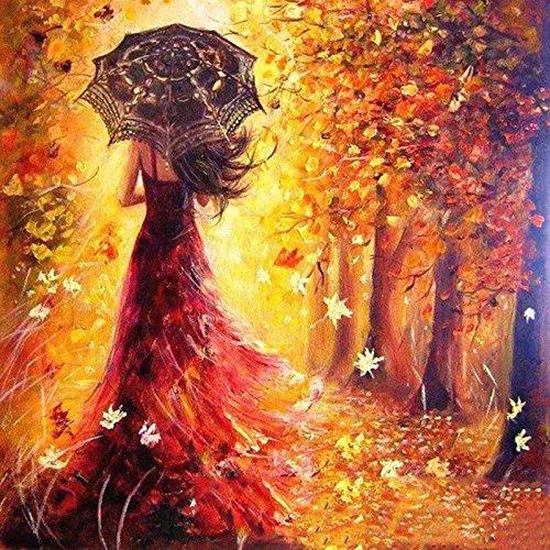 Pintura por número Kit, Diy Pintura al óleo Dibujo Chica romántica caminando por debajo de los árboles Lienzo con pinceles Decoración navideña Decoraciones Regalos - 16 * 20 pulgadas con marco