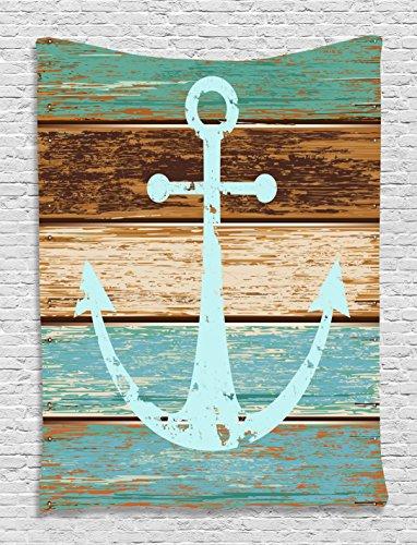 Nautical Decor Anchor Rustic Wooden Planks Marine Maritime Sea Ocean Coastal Antiqued Aged Decor Digital Print Fashion Tapestry Wall Hanging Art Work for Bedroom Living Room Bedroom, Teal Khaki Brown