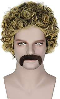 Miss U Hair Unisex Short Brown Curly Wig 70s 80s Punk Heavy Metal Cosplay Party Wig with Mustache