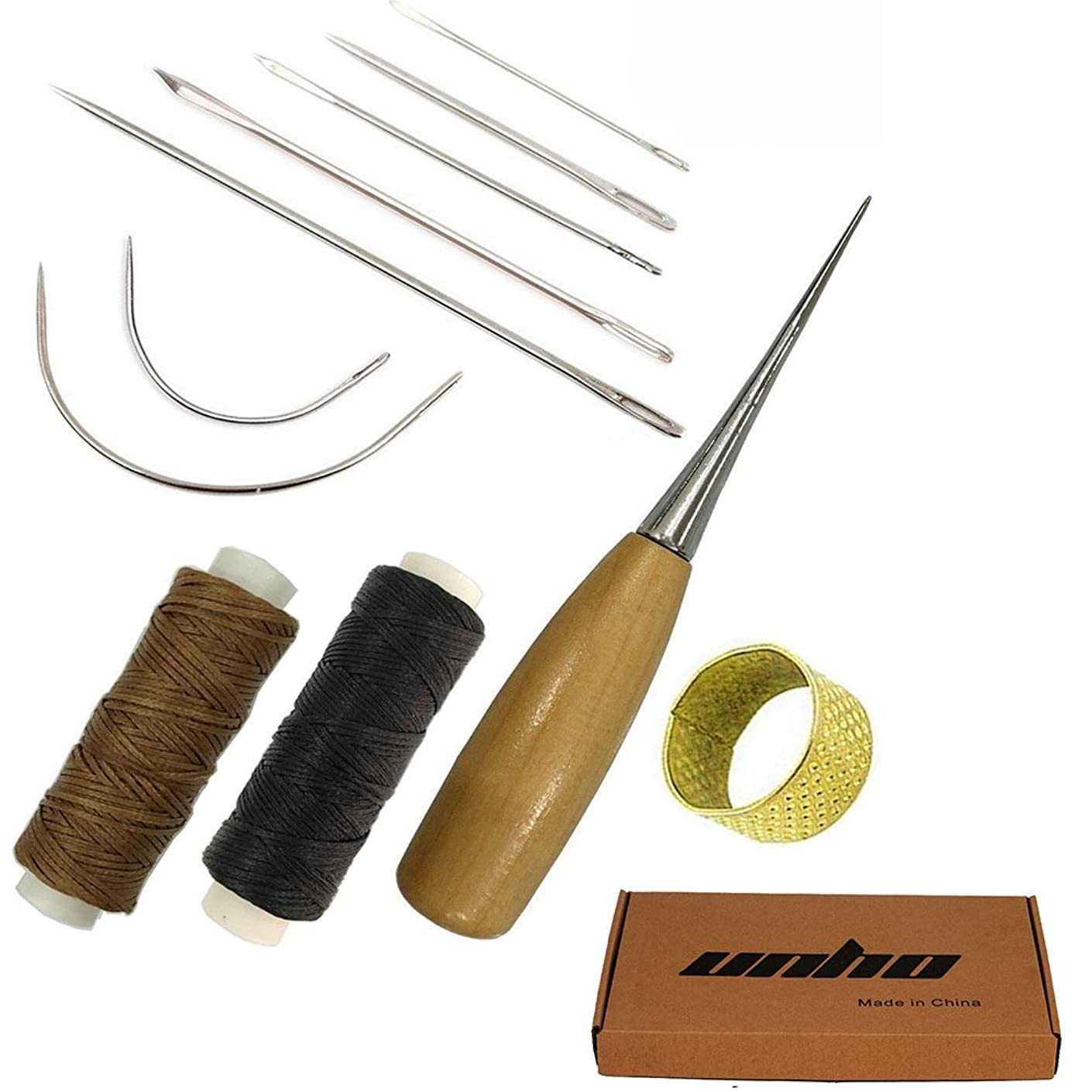 11PCs Curved Straight Sewing Needles with Leather Waxed Thread Cord 1xBrown 1xBlack and Drilling Awl and Thimble for Lea
