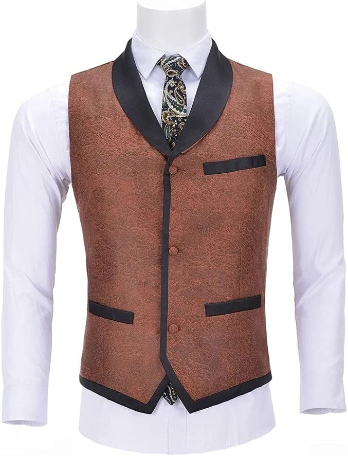 XXDTG Men's Suit Vest Single-Breasted Business Leather Superlatite Spandex G Overseas parallel import regular item
