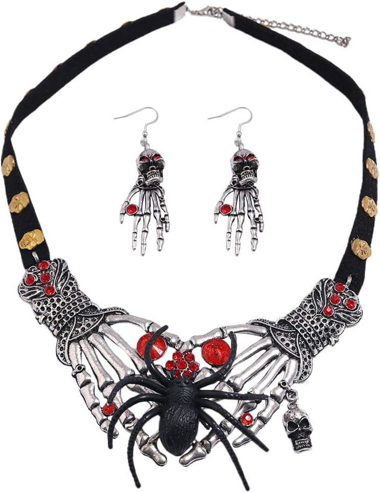 VALICLUD 1 Set Halloween Alloy Skeleton Hands Earring Necklace Set Jewelry Accessories Halloween