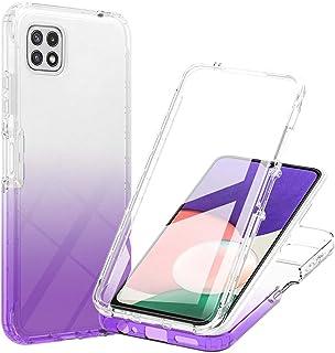 WJMWF Kompatibelt med Samsung Galaxy A22 5G Fodral Bult-in Skärmskydd Transparent Gradient Soft TPU Skyddsfodral 3 i 1 360...