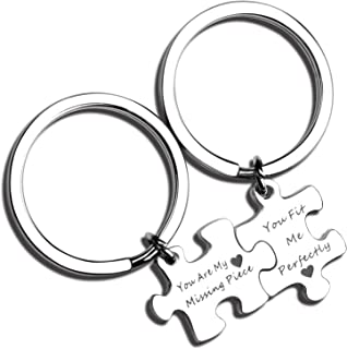Couples Puzzle Keychain Set of Two You are My Missing Piece You Fit Me Perfectly Matching Keychain Set