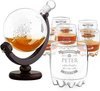 Murrano Whisky Karaffe mit Gravur - Globus mit Schiff, 850 ml - 6er Whiskygläser Set - Whisky Dekanter - Geschenk zum Geburtstag für Männer - personalisiert - Echter Genießer