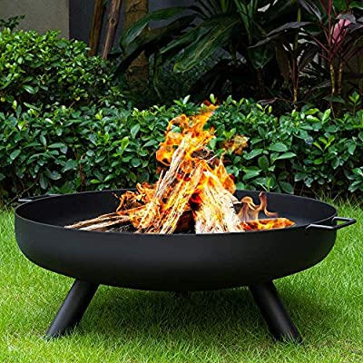 Outdoor Fire Bowl Wood Burning, Extra Large Round Fire Pit, Heavy Duty Metal Fireplace for Charcoal Burning, Cast Iron Rust Proof Stove,31inch?80cm? by FSFF