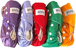 Adenous Nursery Cloth Nappies - Diaper - Reusable, Washable, Nappies, One Size Adjustable, Soft 5 Pack with Microfiber Ins...