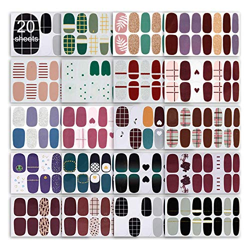 20 Sheets Random Style Full Wraps Nail Polish Stickers, Glitter DIY Self-Adhesive Nail Art Decals Strips Manicure Kit with Nail File Fingernail Decorations Set for Women Girls
