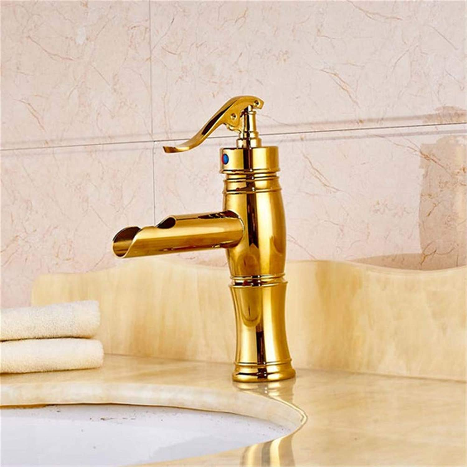 Sink Chrome-Plated Brass New Style Bathroom Sink Faucet Single Handle Mixer Tap gold Finished