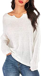Womens Baggy Long Sleeve Ribbed Knit Stripes Pullover Tunic Sweaters