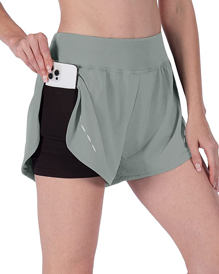 Capol Women's Running Shorts with Liner 3 Inches Quick-Dry Workout Athletic Gym Yoga Shorts for Women with Pockets