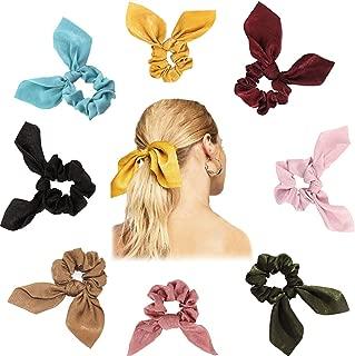 8 Pack Hair Elastics Bow Scrunchies Satin, Silk Hair Scarf Scrunchies for Hair, Chiffon Ponytail Holder Hair Bands, Soft Elegant Hair Ties Ropes, 8 Colors Vintage Hair Accessories for Women Girls