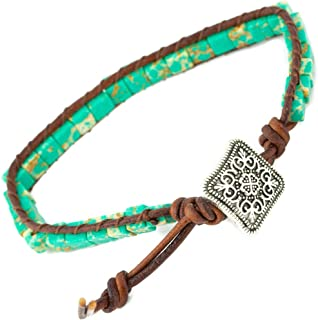 Soul Statement Handmade American Indian Leather Chakra Boho Bracelet Wrap with Turquoise Stone