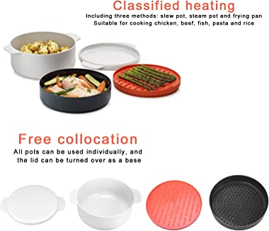 Steamed Egg Pot, Kitchen Stacked Microwave Oven Box Round Household Multi-layer for Microwave