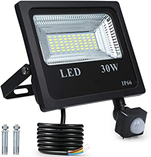 Foco Exterior LED,Tomshine 30W 60 LED 2400ML IP66 Impermeable Foco Proyector LED con Sensor de Movimiento PIR para puertas de patio de jardín Garaje