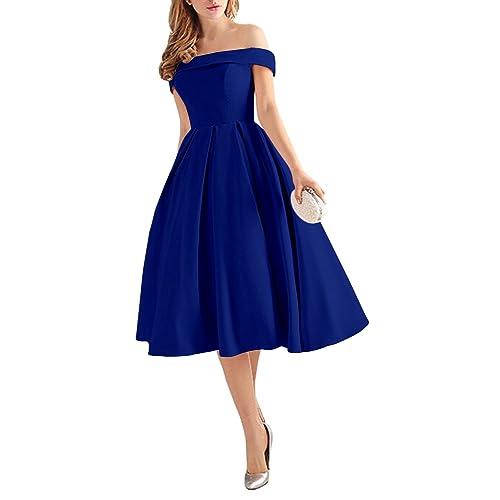 Royal Blue Evening Tea Length Dresses Amazon Com