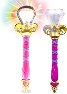 Kicko Light Up Magic Princess Wand - 14 Inch - 1 Pack - LED Spinning Diamond Magic Scepter Gift for Kids, Sensory Developm...