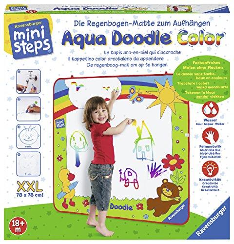 Ravensburger ministeps Aqua Doodle XXL Color - Malen für Kinder ab 18 Monaten, Kreatives Malset für fleckenfreien Malspaß mit Wasser- inklusive XXL-Regenbogen-Malmatte