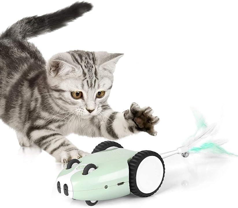 ブロッサム道路ビジョン猫おもちゃ 電動 猫じゃらし ねずみ 羽おもちゃ ねずみ音付 ぶらぶら LEDライト 猫運動不足解消 交換用羽付き USB充電式