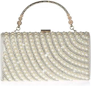 HMNS Pearl Clutch Bag für Damen Abend Hochzeit Braut Handtasche Taschen Clutch Geldbörse