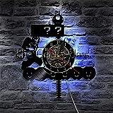 ZZLLL Reloj de Pared con Disco de Vinilo de Videojuego de Setas Retro Reloj de Pared de Juego Retro de los años 80 Reloj de Pared con Signo de interrogación Decoración de Pared para Jugador Regalo