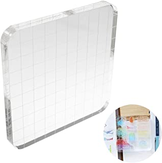 Lind Kitchen 10x10x1cm Square Stamp Block with Grid,Acrylic Clear Stamping Pad Tools for DIY Scrapbooking Crafts Making De...