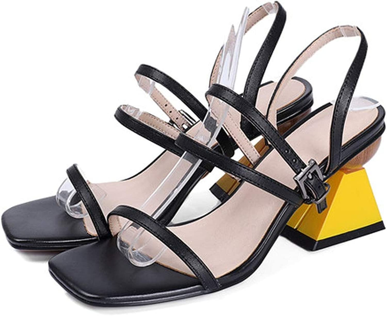 YuJi Women Sandals Natural Cow Leather High Heels shoes Buckle Genuine Leather Party Sandals