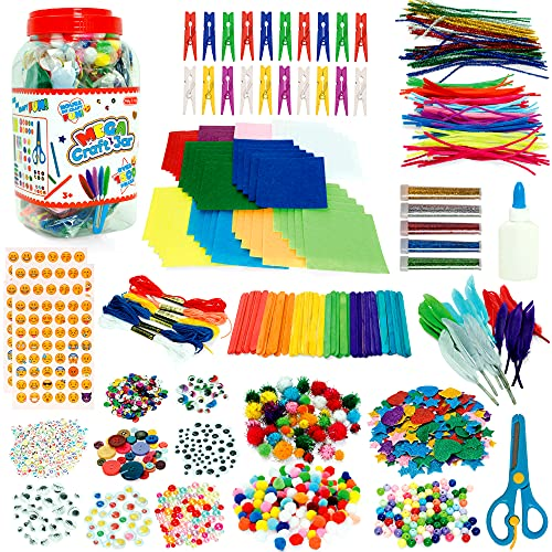 Milly & Ted Jumbo Craft Jar - Kids Craft Kits - Arts and Crafts For Kids With Over 1,500 Pieces - 5 Year Old Girls Gifts - Craft Kits For Kids 3-8 Years Old