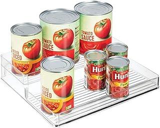 mDesign Especiero para armarios y mesa de cocina – Organizador de condimentos con dos niveles – Estantería para especias para organizar botes de condimentos, conservas y más – transparente