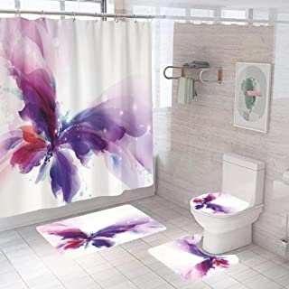 NXYBD Butterfly Design On Background Home Bathroom Set Polyester Fabric Shower Curtain Home Art Decoration with Hooks (Col...