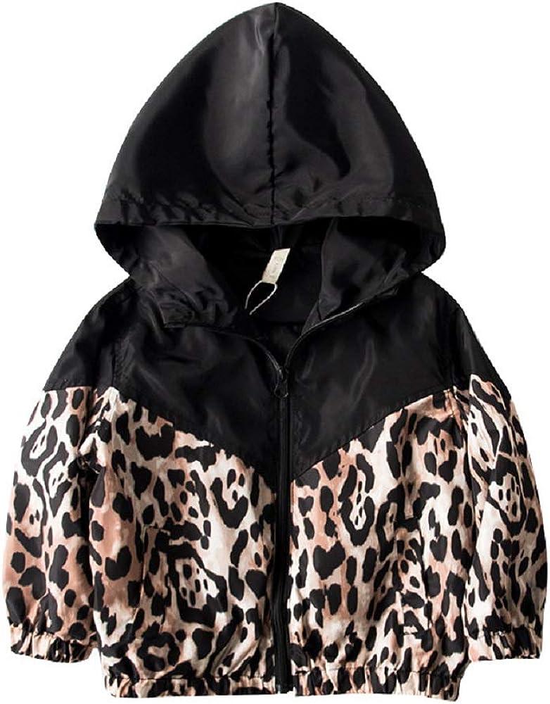 suomate Toddler Baby Girl Leopard Zipper Hooded Jacket Long Slee
