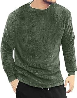 YOcheerful Men Long Sleeve Shirt Tee Autumn Winter Solid Fleece Top Blouse Double-Sided Plush Jumper Tunic Undershirt
