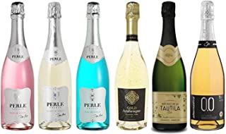 Sparkling Deluxe Wine Assortment - Six (6) Non-Alcoholic Wines 750ml Each - Featuring Perle Rosé, Perle Bleu, Perle Blanc, Gold Arabesque, Tautila Espumoso Blanco, and Bollicine Bianco Extra Dry
