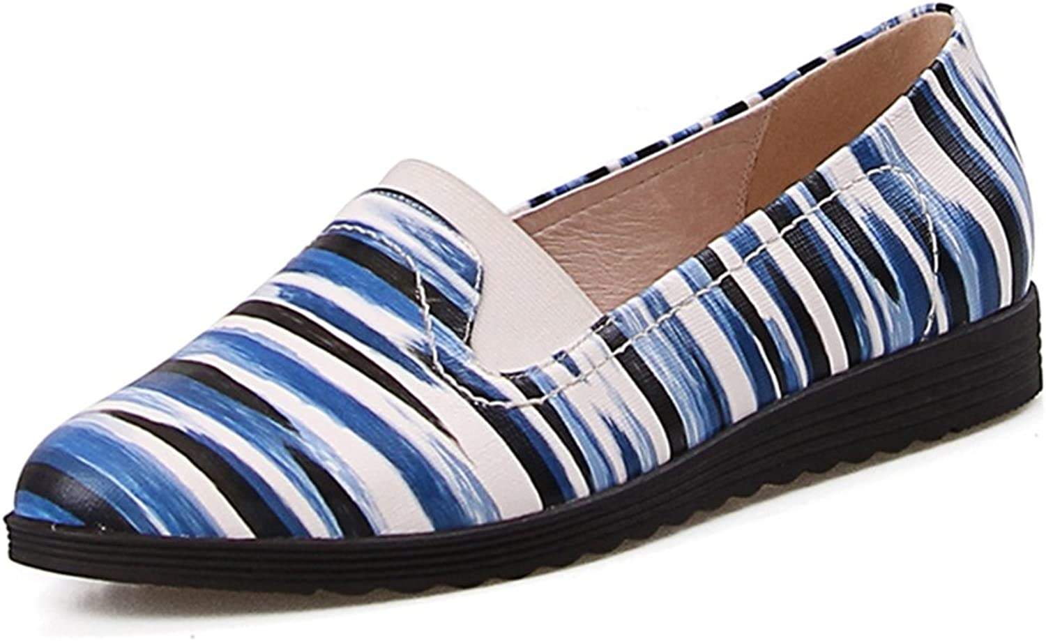 Genuine Leather Striped Woman Flats Lady Slip on Loafers shoes