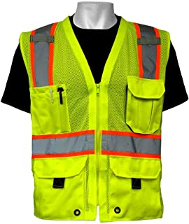 Global Glove GLO-079 - FrogWear HV - High-Visibility Mesh Polyester Surveyors Safety Vest - 2X-Large