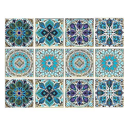 Juego de 12 pegatinas decorativas de mandala para azulejos de 15 x 15 cm, autoadhesivas, desmontables, para decoración del hogar