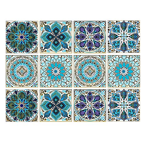 Juego de 12 pegatinas decorativas para azulejos de 15,2 x 15,2 cm, autoadhesivas, extraíbles, azules, baldosas, impermeables, para cocina, baño, escaleras, decoración del hogar