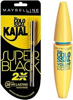 Maybelline New York Colossal Kajal, Super Black, 0.35g And Maybelline New York Volume Express Colossal Masacara, Waterproo...