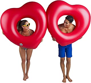 BigMouth Inc Giant Double Heart Multi-Person Pool Float, Perfect for 2 People, Funny Inflatable Vinyl Summer Pool or Beach Toy, Patch Kit Included