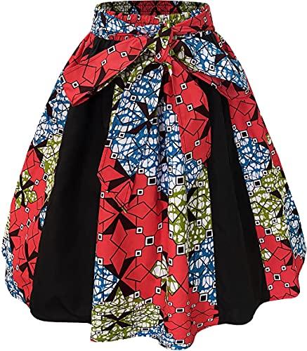 DOAFRIAFRI Women African Short Print Skirt Ankara Wax Skirts with Pockets One Size (A)