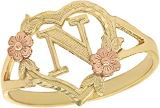 CaliRoseJewelry 14k Gold Initial Alphabet Personalized Heart Ring - Letter N