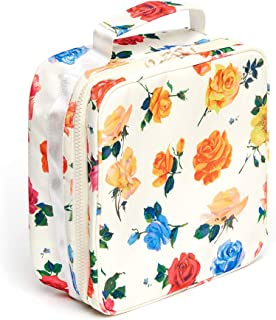 ban.do Womens What's For Lunch? Square Lunch Bag with Insulated Silver Lining, Coming Up Roses