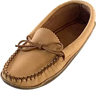 Bastien Industries Women's Earthing grounding Natural Moosehide Leather with Heavy Oil Tan Sole Moccasins