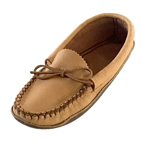 Bastien Industries Womens Earthing grounding Natural Moosehide Leather with Heavy Oil Tan Sole Moccasins