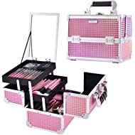 Joligrace Makeup Train Case Portable Cosmetic Box Jewelry Organizer Lockable with Keys and Mirror...