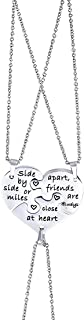 Anlive 3 Best Friend Necklace Side by Side Or Miles Apart Puzzle Piece Necklace Set of 3
