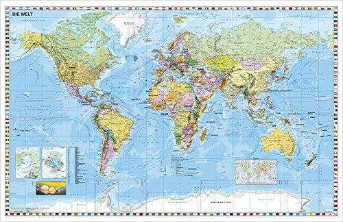 Weltkarte (deutsch) Großformat: Großformat, 134 x 87cm.