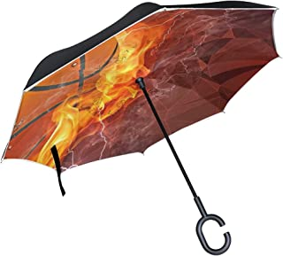 Toucans Inverted Umbrella with Light Reflection Strip, Double Layer Car Reverse Umbrella, Auto-Open Self-Standing Umbrella with C-Shape Handle